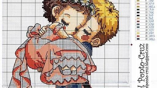 схема для вышивания молодожены