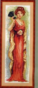 схема для вышивания девушка с веером