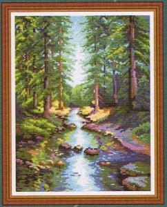 Схема для вышивания Река в лесу