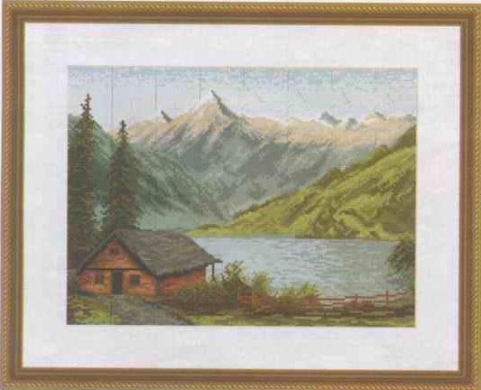 схема для вышивания дом у озера