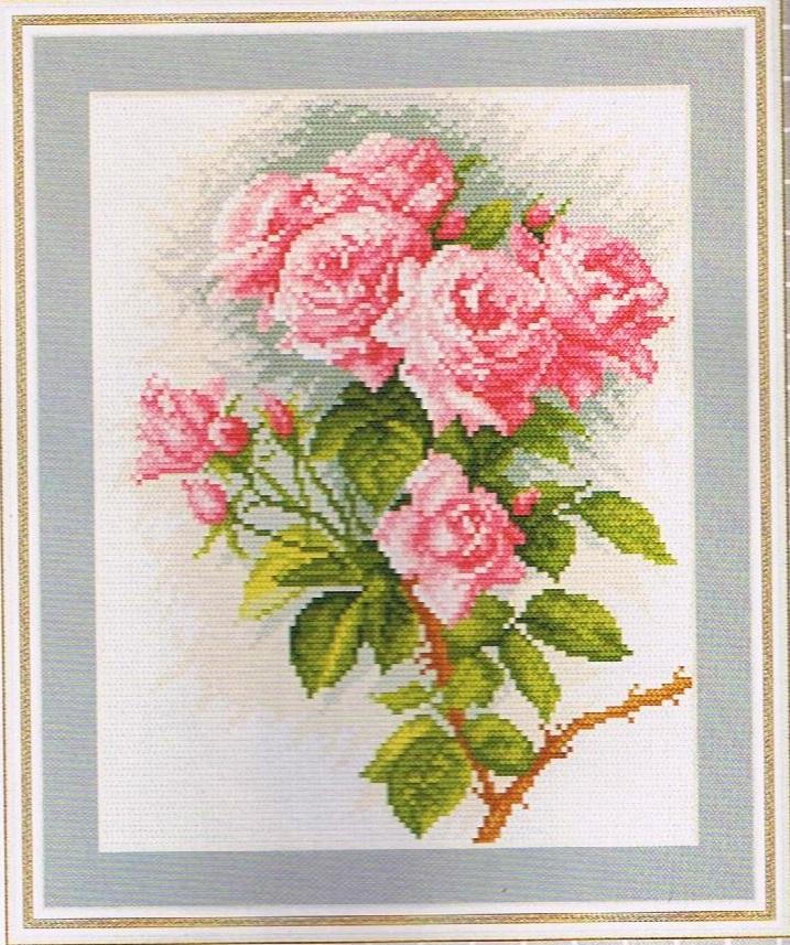 Схема вышивки роза розовая