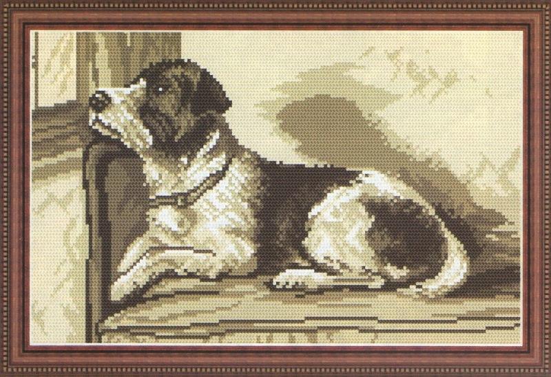 схема вышивки грусный пес