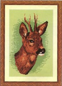 схема вышивки олень