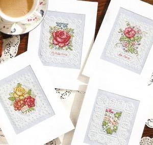 схема вышивки кружевные открытки