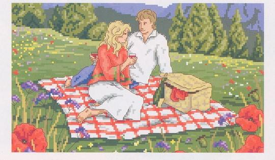 схема вышивки пикник в альпах