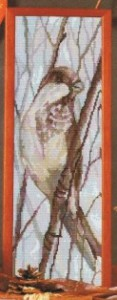 схема вышивки пташка на ветке