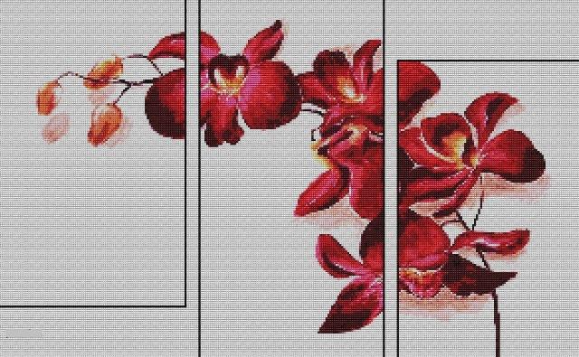 Схема вышивки Триптих Орхидея