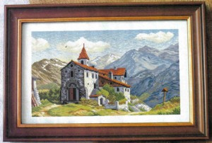 схема вышивки замок в горах