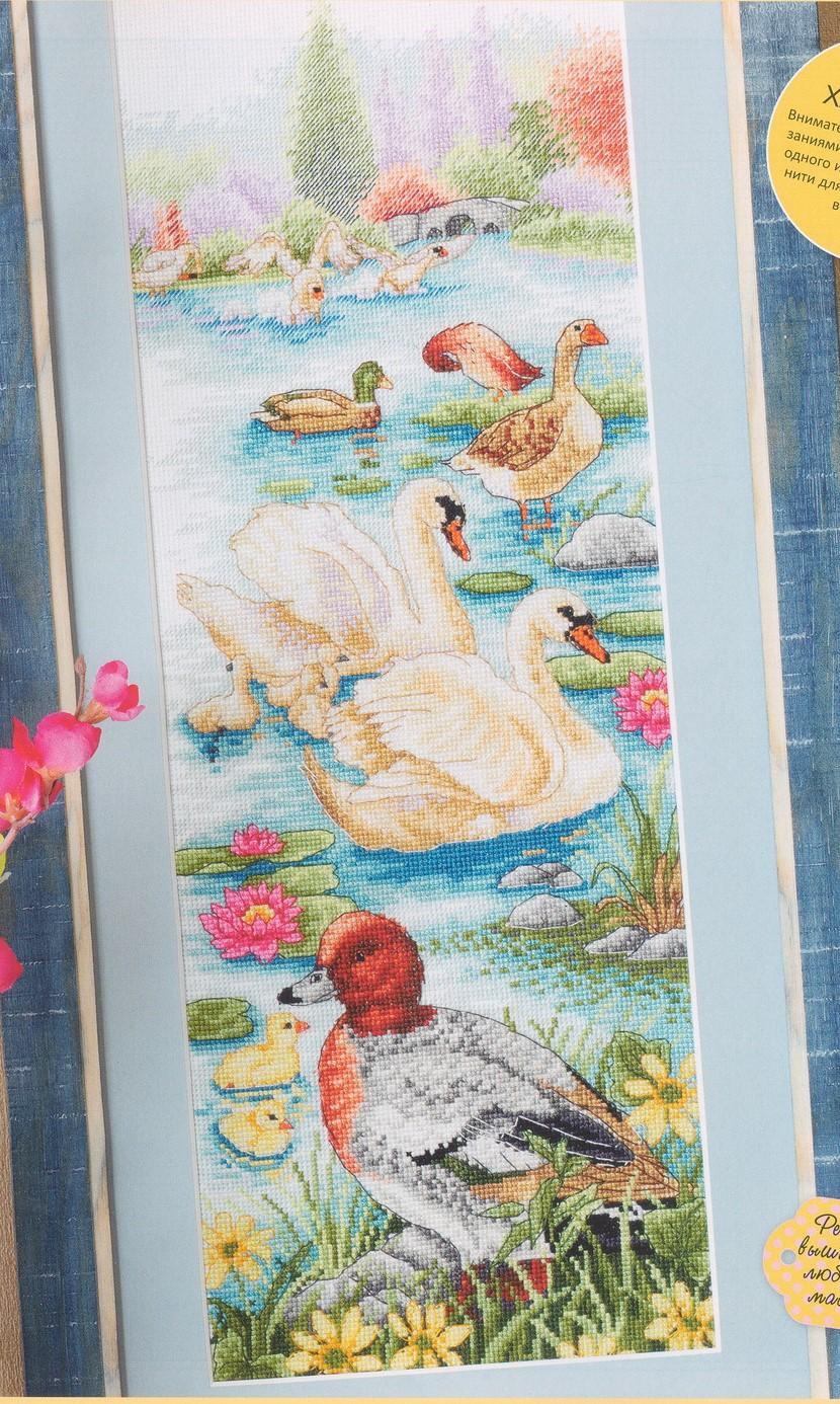 схема вышивки гуси лебеди