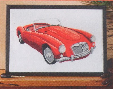 схема вышивки красная машина
