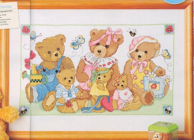 схема вышивки семейство медвежат