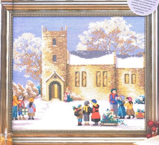схема вышивки деревенская церковь