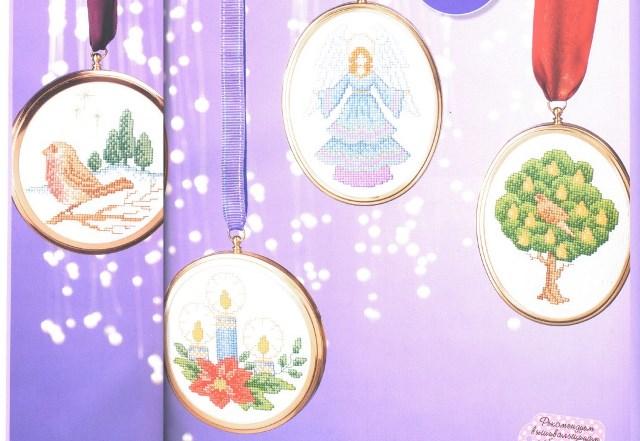 схема вышивки рождественские медальоны