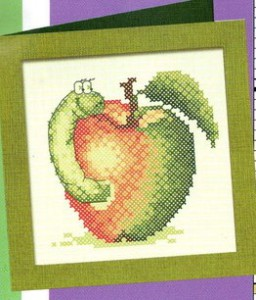 схема вышивки яблоко