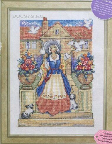 схема вышивки дама в голубом