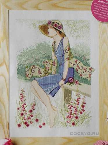 схема вышивки девушка-лето