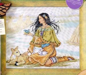 схема вышивки девушка из прерий