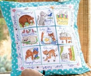 схема вышивки кошачья подушка