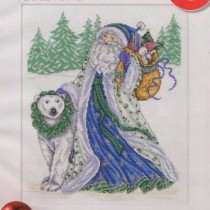 схема вышивки дед мороз и медведь