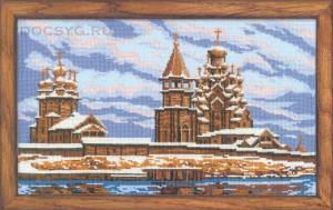 схема вышивки деревянная церковь