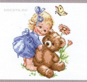 схема вышивки девочка и медвежонок
