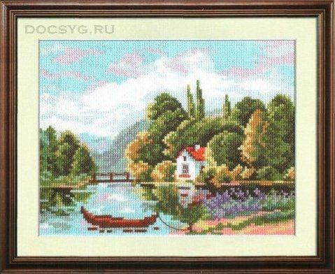 схема вышивки дом у реки