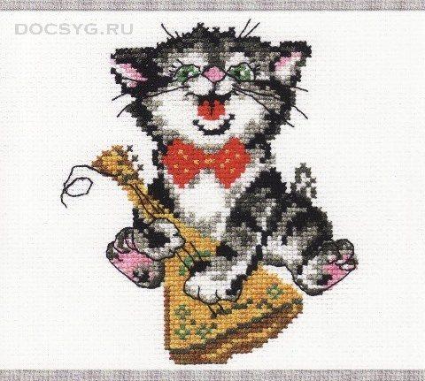 схема вышивки кот и балалайка
