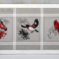 схема вышивки красные птицы и ягоды