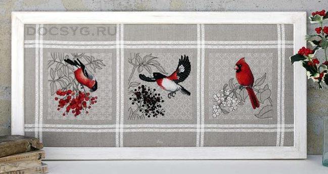 Схема вышивки Красные птицы и