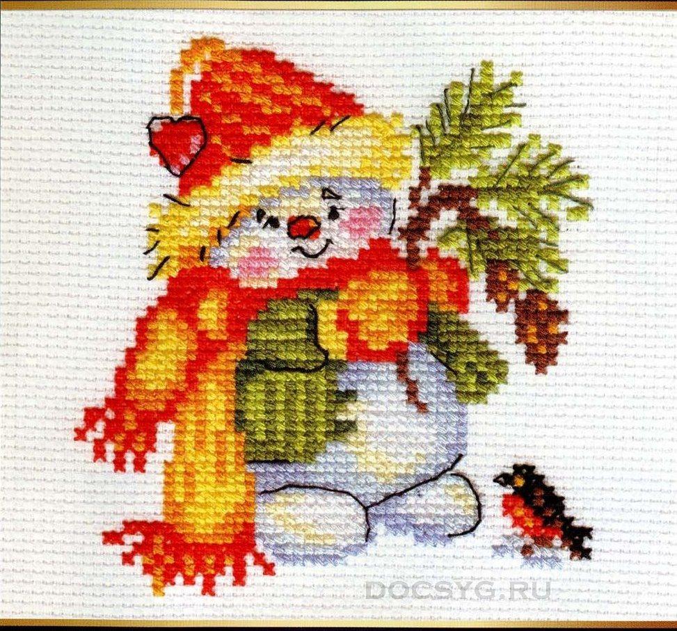 схема вышивки миниатюра снеговик