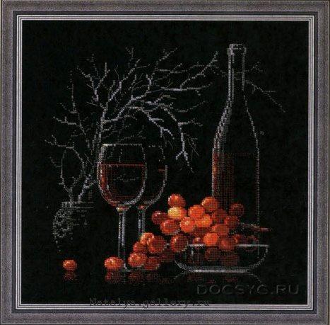 схема вышивки натюрморт с виноградом