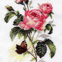 схема вышивки роза и бабочка