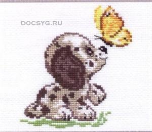 схема вышивки щенок и бабочка