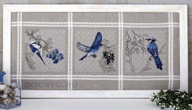 схема вышивки синие птицы и ягоды