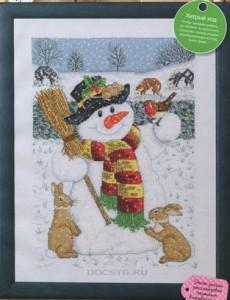 схема вышивки снеговик в лесу