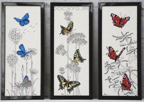схема вышивки триптих бабочки