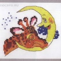 схема вышивки жираф и луна