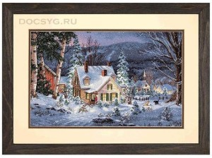 схема вышивки зимний дом