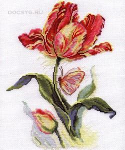 Схема вышивки Тюльпан и бабочка