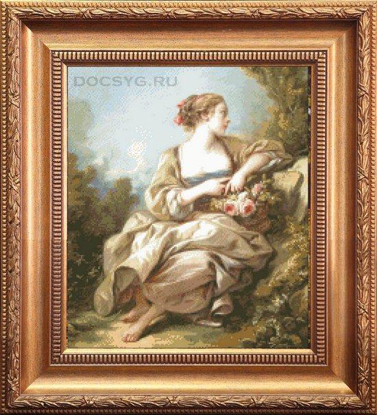 схема вышивки девушка эпохи ренесанс