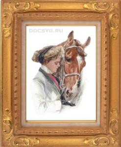 схема вышивки девушка и лошадь