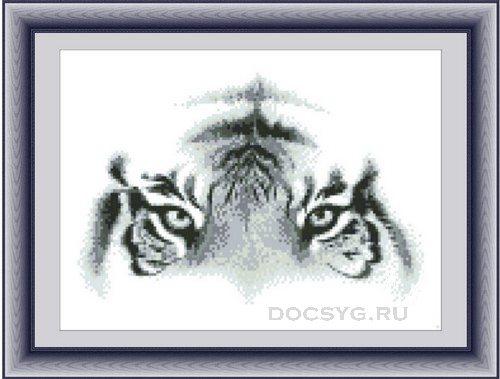 схема вышивки глаза тигра