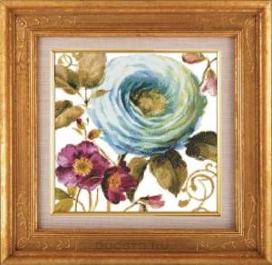 схема вышивки голубая роза