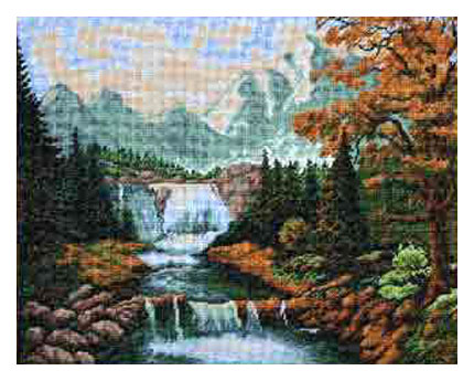 схема вышивки горный водопад