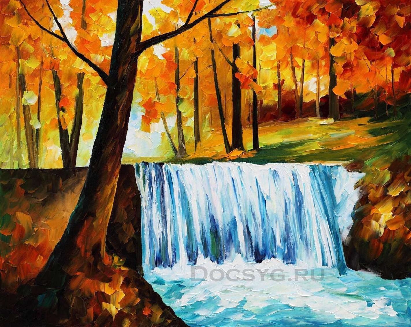 схема вышивки лесной водопад