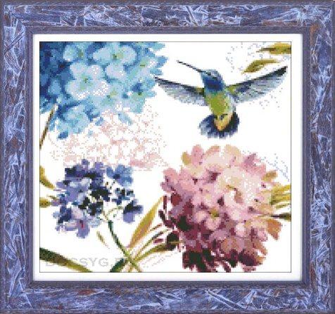схема вышивки птица и цветы