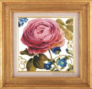 схема вышивки розовая роза