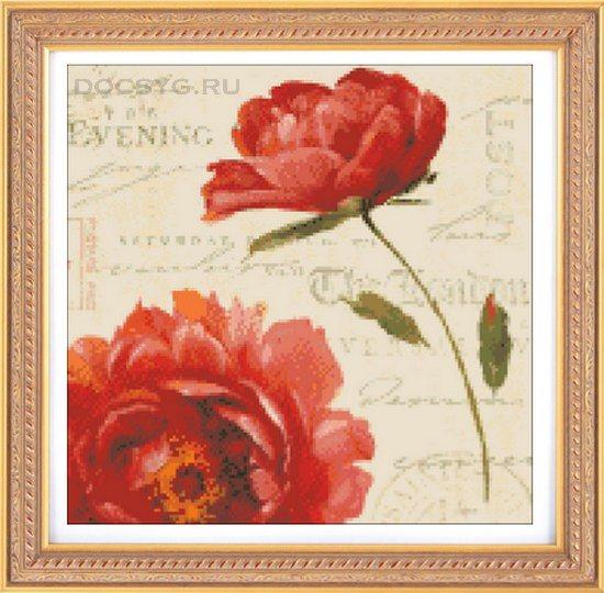 схема вышивки цветок пиона