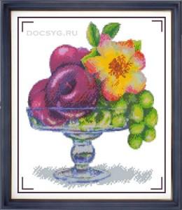 схема вышивки ваза с фруктами