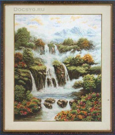 схема вышивки водопад в горах